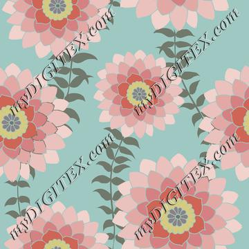Round Pink Mandala Flowers on light blue