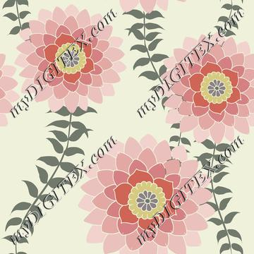 Pink Flowers on Off White Romantic Pretty