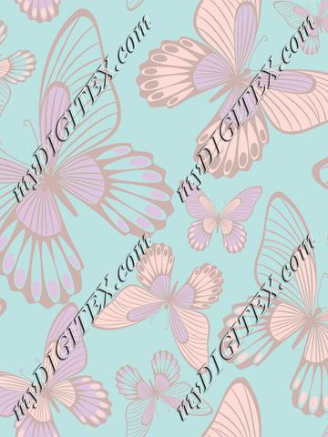 Butterflies pastelcolors on light blue
