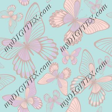 Butterflies pastelcolors on light blue