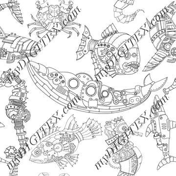 Steampunk Sea Creatures Coloring