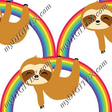 Cute Baby Sloth on Rainbow