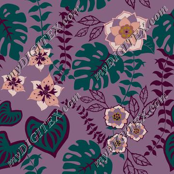 Tropical flowers, leaves and vines on purple