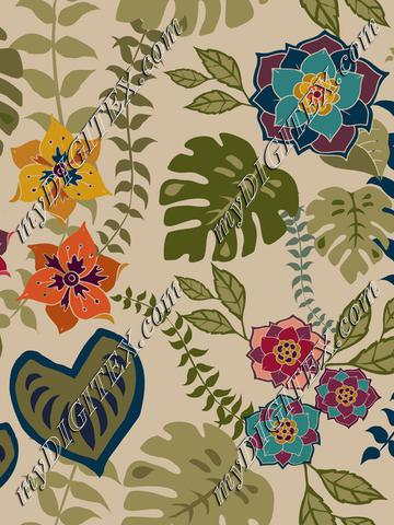 Tropical flowers, leaves and vines on neutral