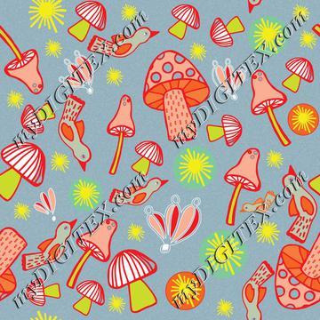 Colorful mushroom pattern B-01