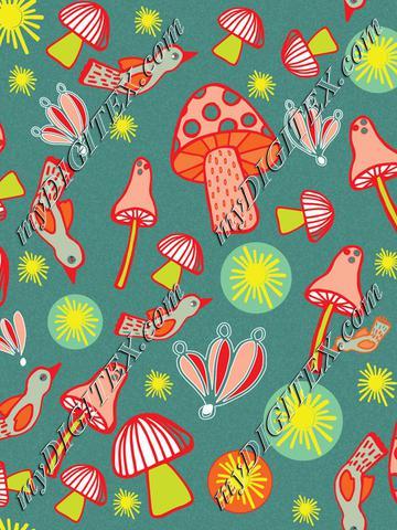 Colorful mushroom pattern C-01