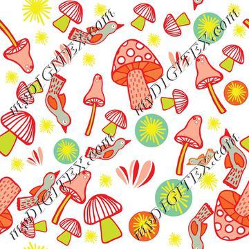 Colorful mushroom pattern K-01