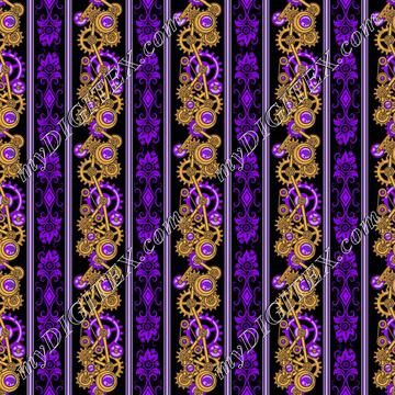 Steampunk Damask Stripes (purple)