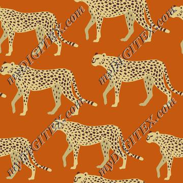 Cheetah, Leopard, Jaguar on Orange