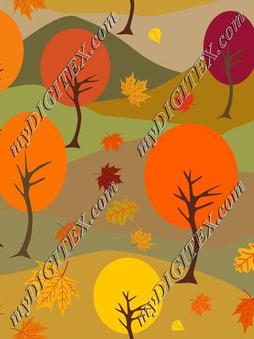 Autumn Landscape, Fall Trees and Leaves