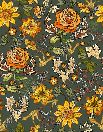 William Morris Inspired Flowers Roese