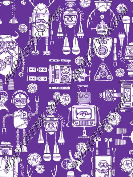 White Robots on Purple