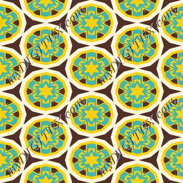 Blue yellow flowers pattern