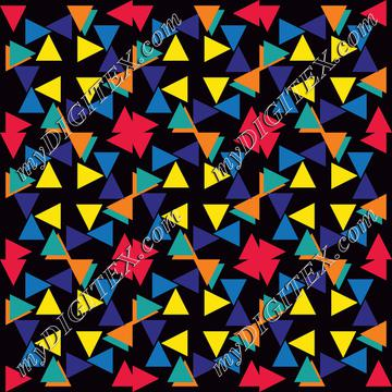 Colorful triangles and flowers pattern