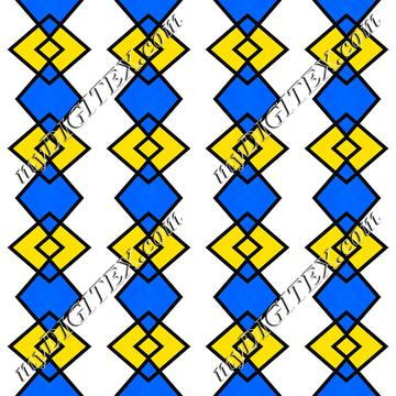 Blue yellow rhombus pattern