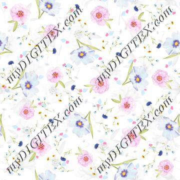 Pink blue flowers pattern