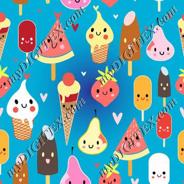 Cute food characters clipart