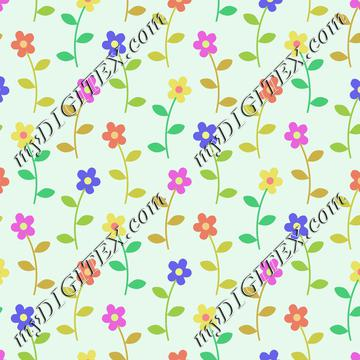 Flowers on a green background pattern