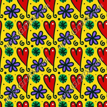 Hearts and flowers pattern