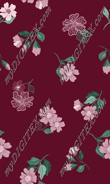 Burgandy floral print
