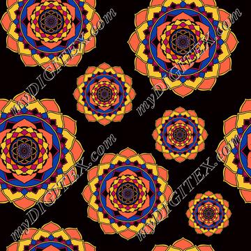 Mandalas, sun, floral, orange on black
