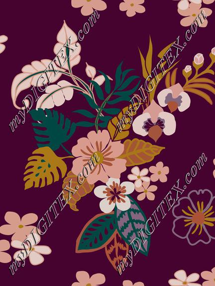 Tropical leaves, flowers and plants on purple