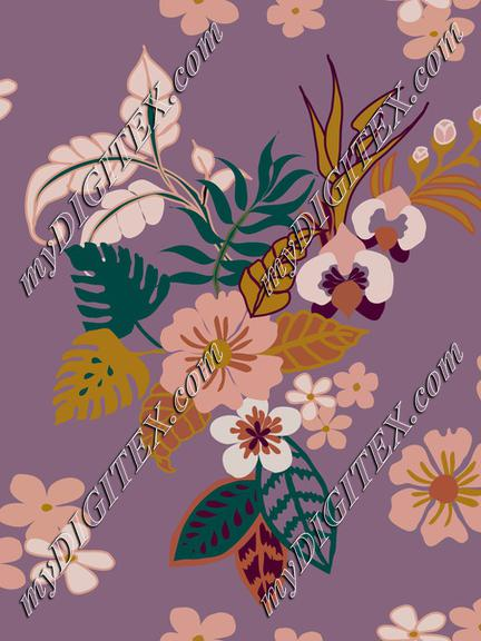 Tropical leaves, flowers and plants on llight purple