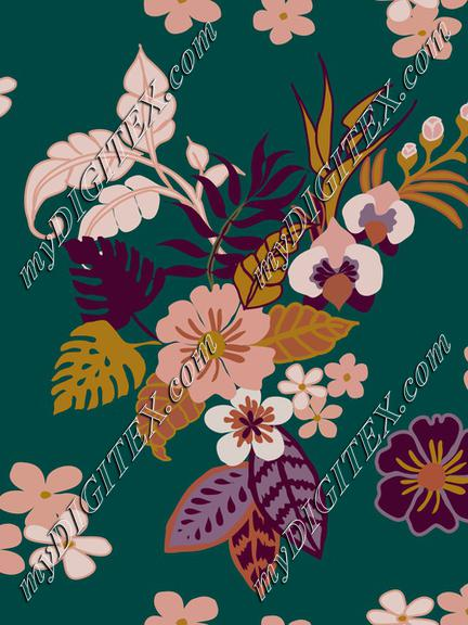 Tropical leaves, flowers and plants on quetzal green