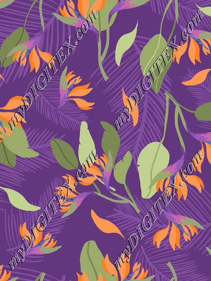 Tropical Purple Orange Fashion Print