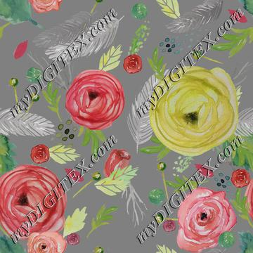 Beautiful Floral Watercolor Lt. Gray BG.