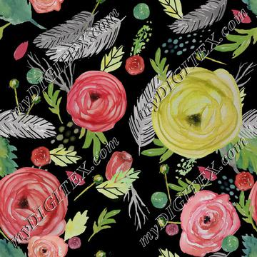 Beautiful Watercolor Floral black bg.