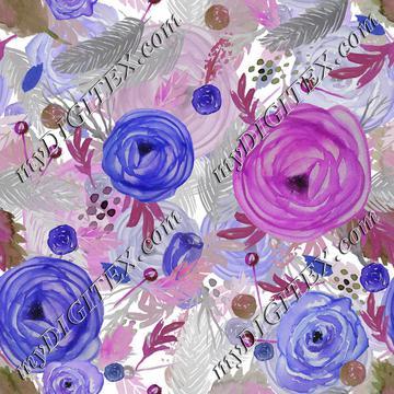 Beautiful Watercolor Floral Multi-layered blue