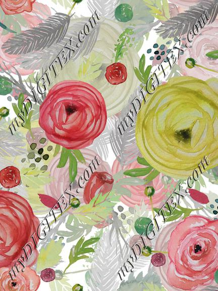 Beautiful Watercolor Floral Multi-layered
