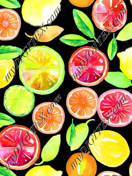 Citrus in Watercolor Black BG