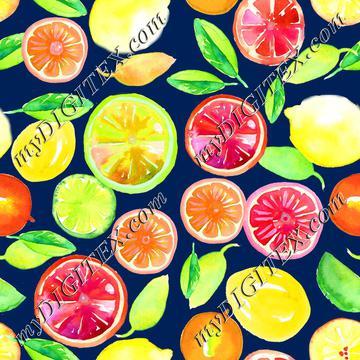 Citrus in Watercolor Dk Blue BG