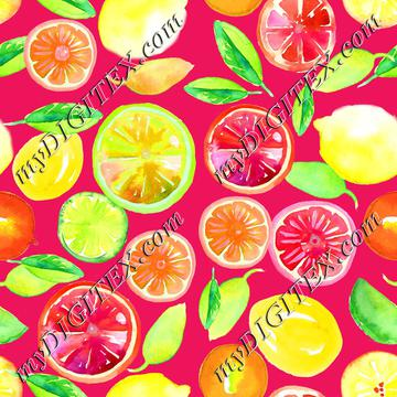 Citrus in Watercolor Hot Pink BG