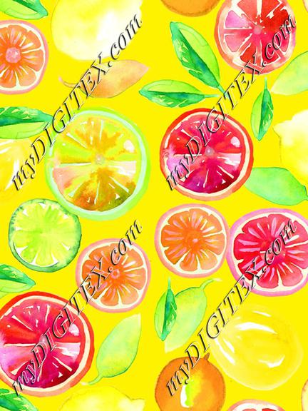 Citrus in Watercolor Yellow BG