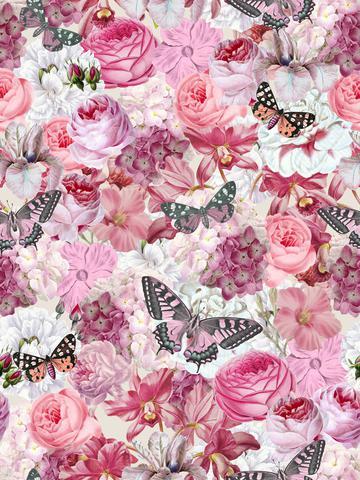 Romantic Summer Flower Butterfly Pattern
