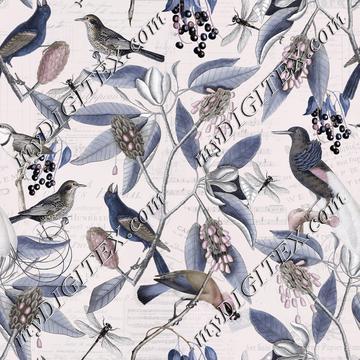 Vintage Bird Pastel Pattern