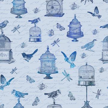 Blue Vintage Bird Cage