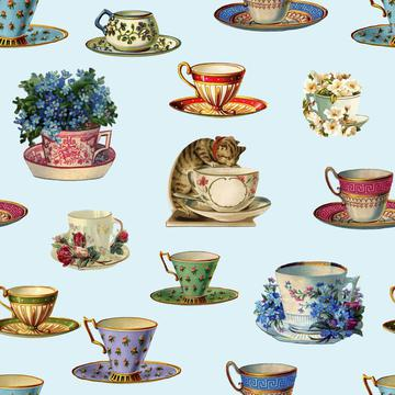 Vintage Tea And Cat Pattern