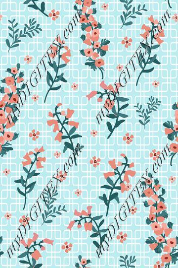 Spring Flowers Aqua