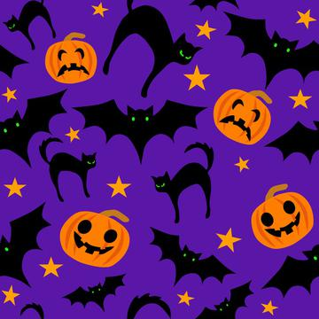 Halloween pattern pumpkins, pats and cats on purple