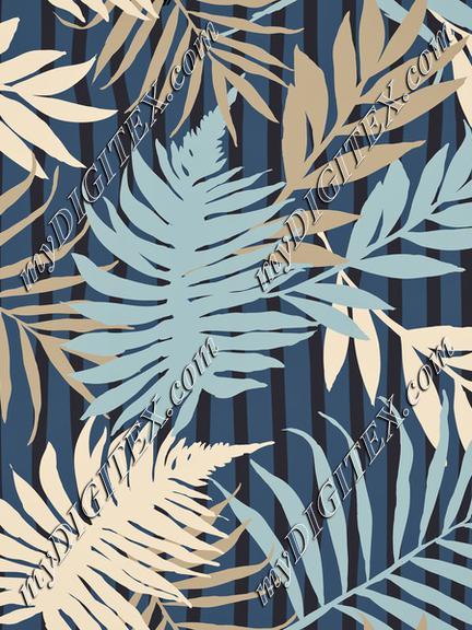 Palm Leaves On Stripes