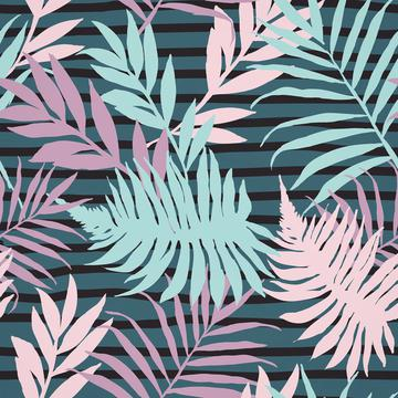 Palm Leaves On Stripes