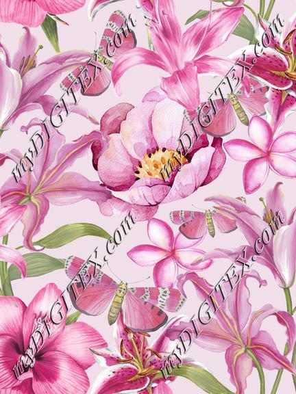 Pink Watercolor Flower Pattern