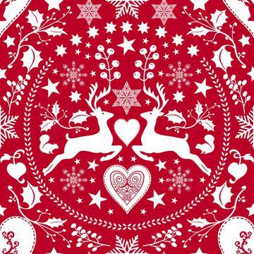 Folk Art Xmas Deer red