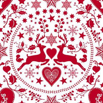 Folk Art Xmas Deer white