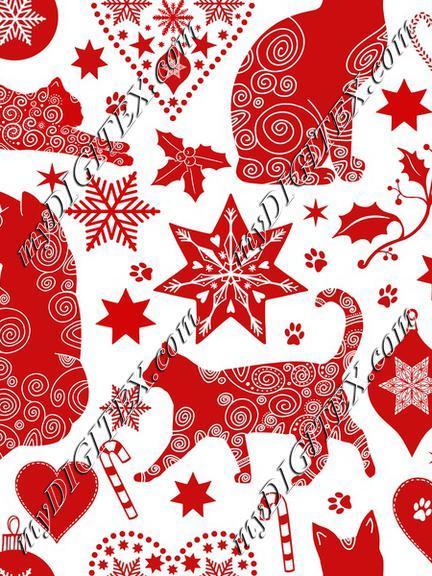 Merry Catmas red white