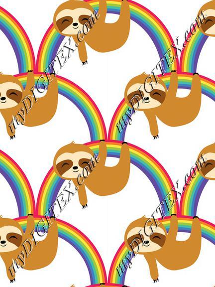 Cute Baby Sloths on Rainbow